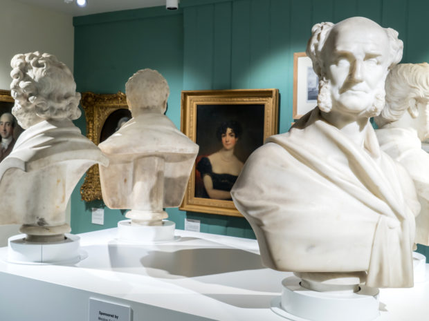 Four busts and paintings displayed in Weston Super Mare Museum