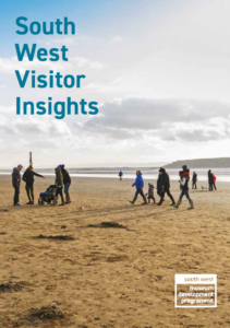 Front page of South West Visitor Insights booklet - people walking on a beach