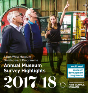 Annual Museum Survey Highlights 2017-18 image of volunteer pointing to an engine with two men looking